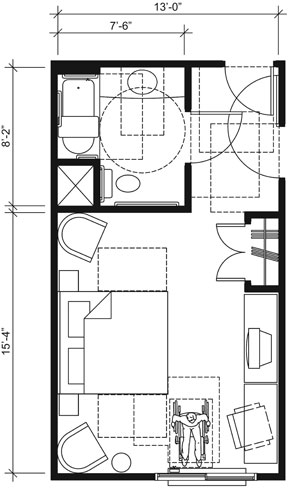 This drawing shows an accessible 13-foot wide guest room with features that comply with the 2010 Standards. Features include a standard bathtub with a seat, comparable vanity, clothes closet with swinging doors, and door connecting to adjacent guest room. Furnishings include a king bed and additional seating.