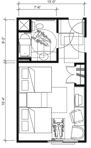 This drawing shows an accessible 13-foot wide guest room with features that comply with the 2010 Standards. Features include a standard bathtub with a seat, comparable vanity, clothes closet with swinging doors, and door connecting to adjacent guest room. Furnishings include two beds.