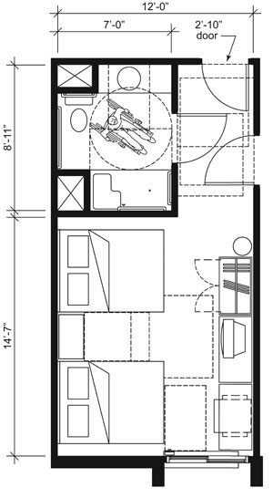 This drawing shows an accessible 12-foot wide guest room with features that comply with the 2010 Standards. Features include a standard roll-in shower with a seat, comparable vanity, wardrobe, and door connecting to adjacent guest room. Furnishings include two beds.
