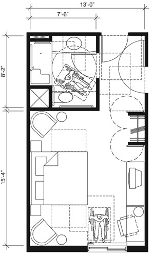 This drawing shows an accessible 13-foot wide guest room with features that comply with the 2010 Standards. Features include a standard roll-in shower with a seat, comparable vanity, clothes closet with swinging doors, and door connecting to adjacent guest room. Furnishings include a king bed and additional seating.