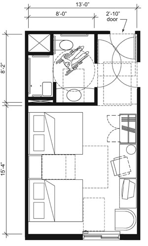 This drawing shows an accessible 13-foot wide guest room with features that comply with the 2010 Standards. Features include an alternate roll-in shower with a seat, comparable vanity, wardrobe, and door connecting to adjacent guest room. Furnishings include two beds.