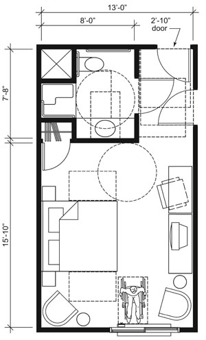 This drawing shows an accessible 13-foot wide guest room with features that comply with the 2010 Standards. Features include a transfer shower, comparable vanity, clothes closet with swinging door, and door connecting to adjacent guest room. Furnishings include a king bed and additional seating.