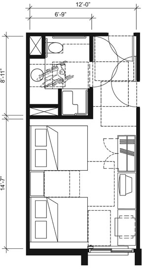 This drawing shows an accessible 12-foot wide guest room with features that comply with the 2010 Standards. Features include a transfer shower, water closet length (rim to rear wall) 24 inches maximum, comparable vanity, clothes closet with swinging door, and door connecting to adjacent guest room. Furnishings include a king bed and additional seating.